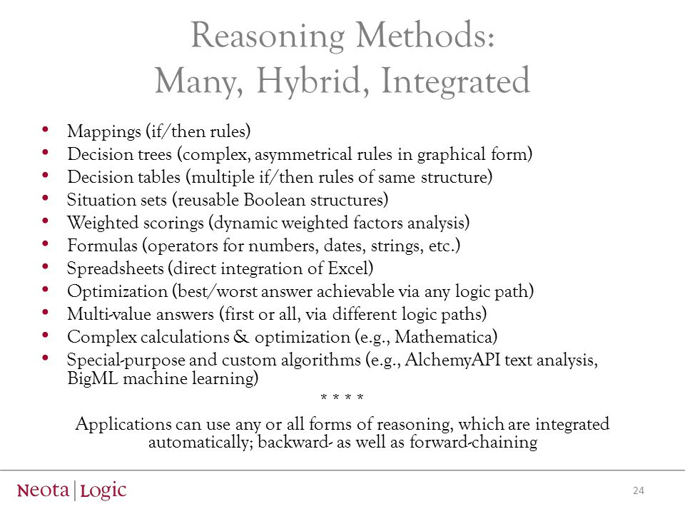 Reasoning Methods: Many, Hybrid, Integrated Mappings (if/then rules) Decision trees (complex, asymmetrical rules in graphical form) Decision tables (m