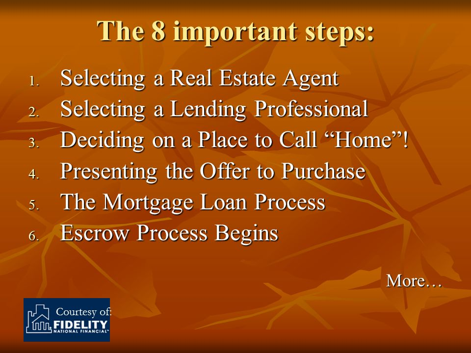 Courtesy of: The 8 important steps: 1. Selecting a Real Estate Agent 2.