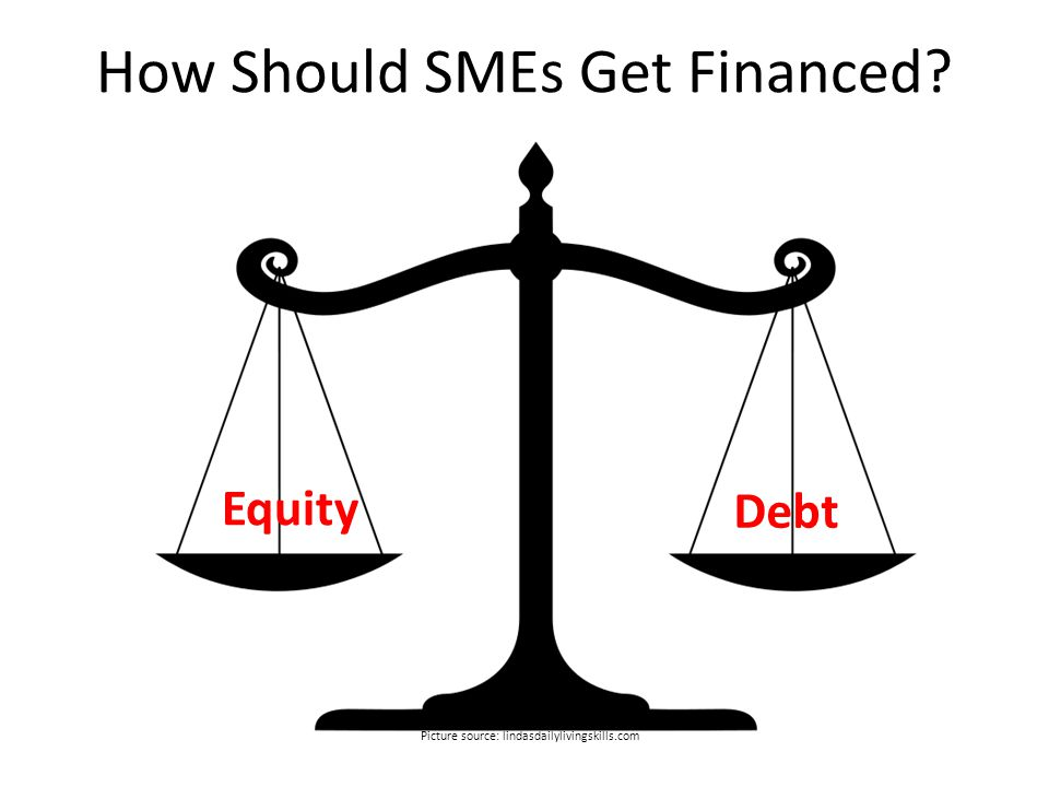 How Should SMEs Get Financed Equity Debt Picture source: lindasdailylivingskills.com