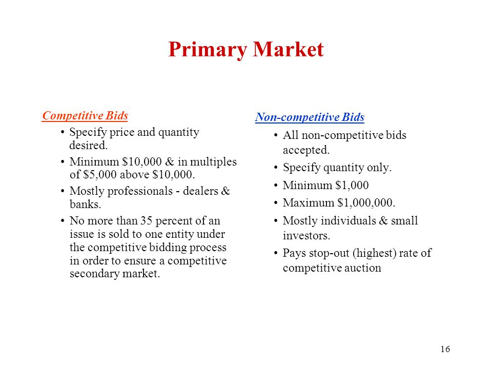 Primary Market Competitive Bids Specify price and quantity desired.