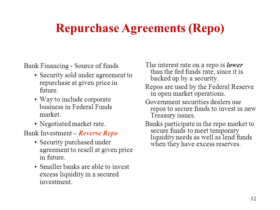 Repurchase Agreements (Repo) Bank Financing - Source of funds Security sold under agreement to repurchase at given price in future. Way to include cor