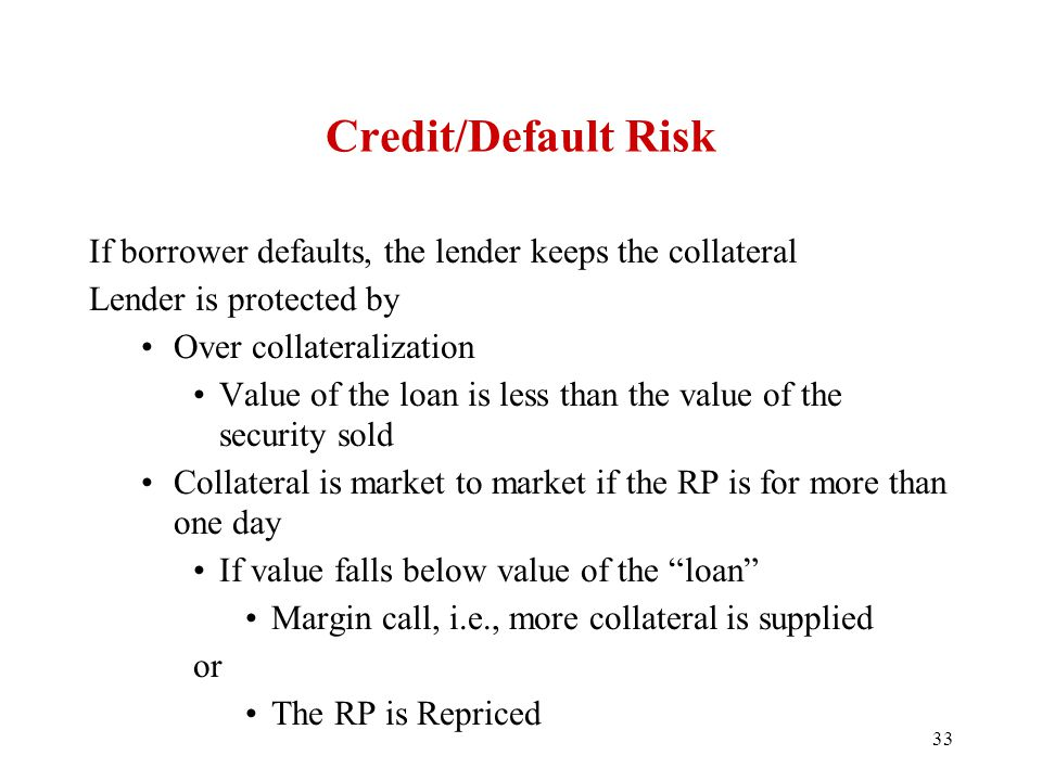 Credit/Default Risk If borrower defaults, the lender keeps the collateral Lender is protected by Over collateralization Value of the loan is less than the value of the security sold Collateral is market to market if the RP is for more than one day If value falls below value of the loan Margin call, i.e., more collateral is supplied or The RP is Repriced 33