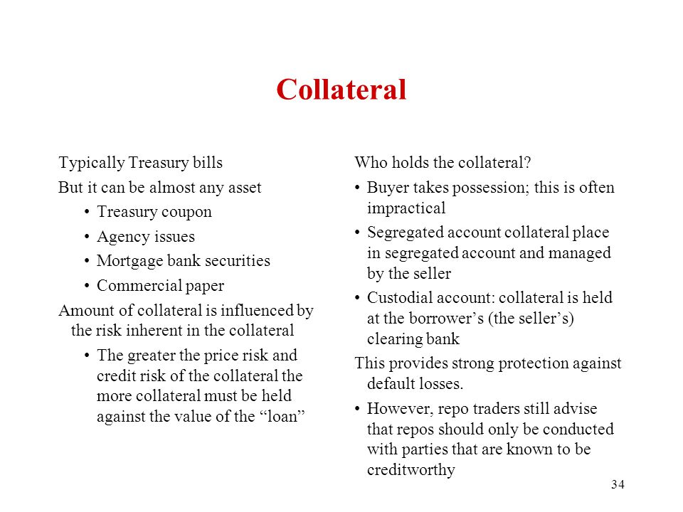 Collateral Typically Treasury bills But it can be almost any asset Treasury coupon Agency issues Mortgage bank securities Commercial paper Amount of collateral is influenced by the risk inherent in the collateral The greater the price risk and credit risk of the collateral the more collateral must be held against the value of the loan Who holds the collateral.