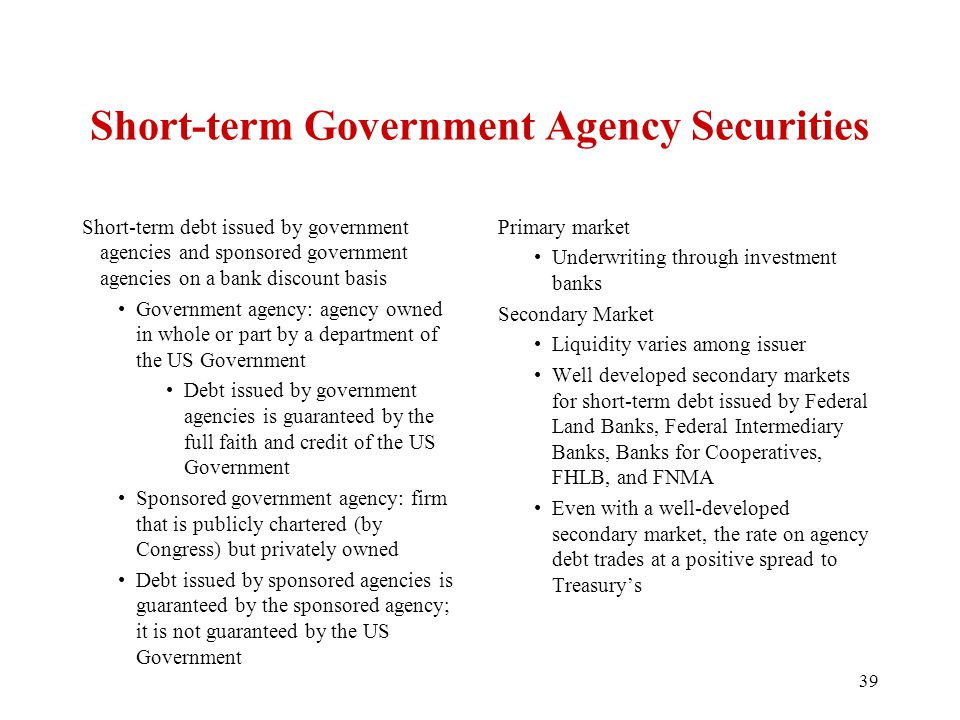 Short-term Government Agency Securities Short-term debt issued by government agencies and sponsored government agencies on a bank discount basis Government agency: agency owned in whole or part by a department of the US Government Debt issued by government agencies is guaranteed by the full faith and credit of the US Government Sponsored government agency: firm that is publicly chartered (by Congress) but privately owned Debt issued by sponsored agencies is guaranteed by the sponsored agency; it is not guaranteed by the US Government Primary market Underwriting through investment banks Secondary Market Liquidity varies among issuer Well developed secondary markets for short-term debt issued by Federal Land Banks, Federal Intermediary Banks, Banks for Cooperatives, FHLB, and FNMA Even with a well-developed secondary market, the rate on agency debt trades at a positive spread to Treasury's 39