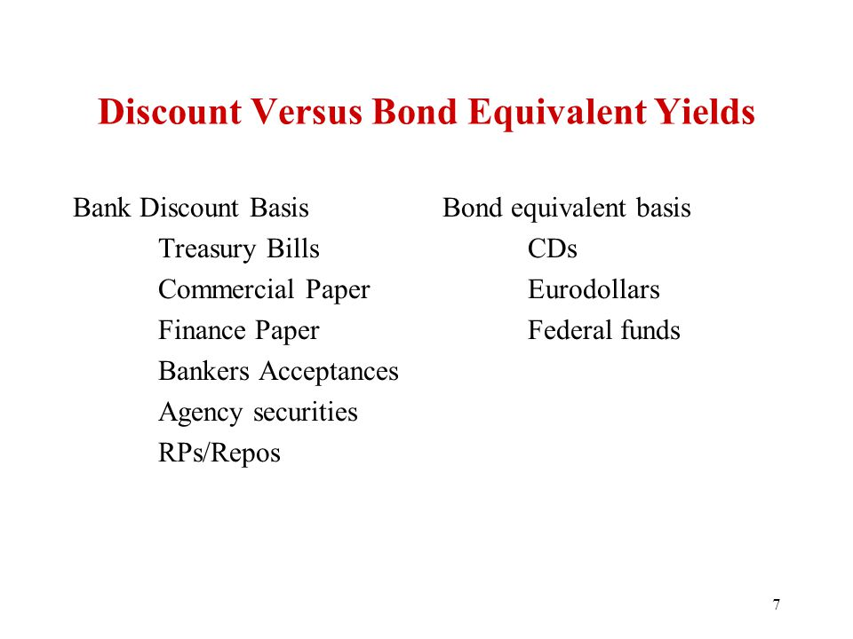 Discount Versus Bond Equivalent Yields Bank Discount Basis Treasury Bills Commercial Paper Finance Paper Bankers Acceptances Agency securities RPs/Repos Bond equivalent basis CDs Eurodollars Federal funds 7