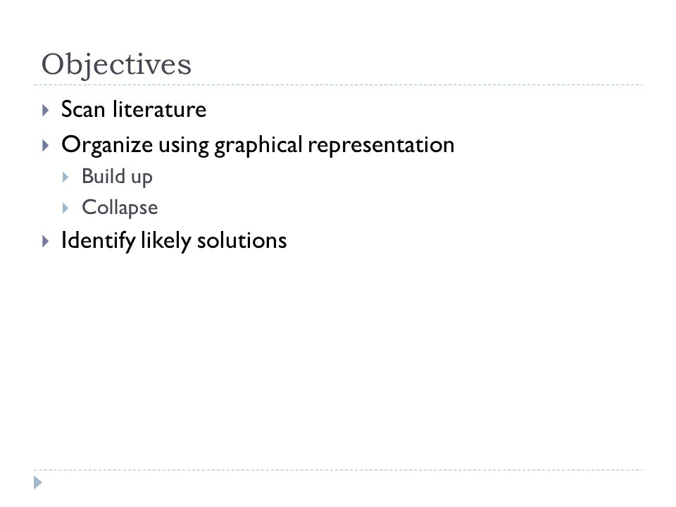 Objectives  Scan literature  Organize using graphical representation  Build up  Collapse  Identify likely solutions