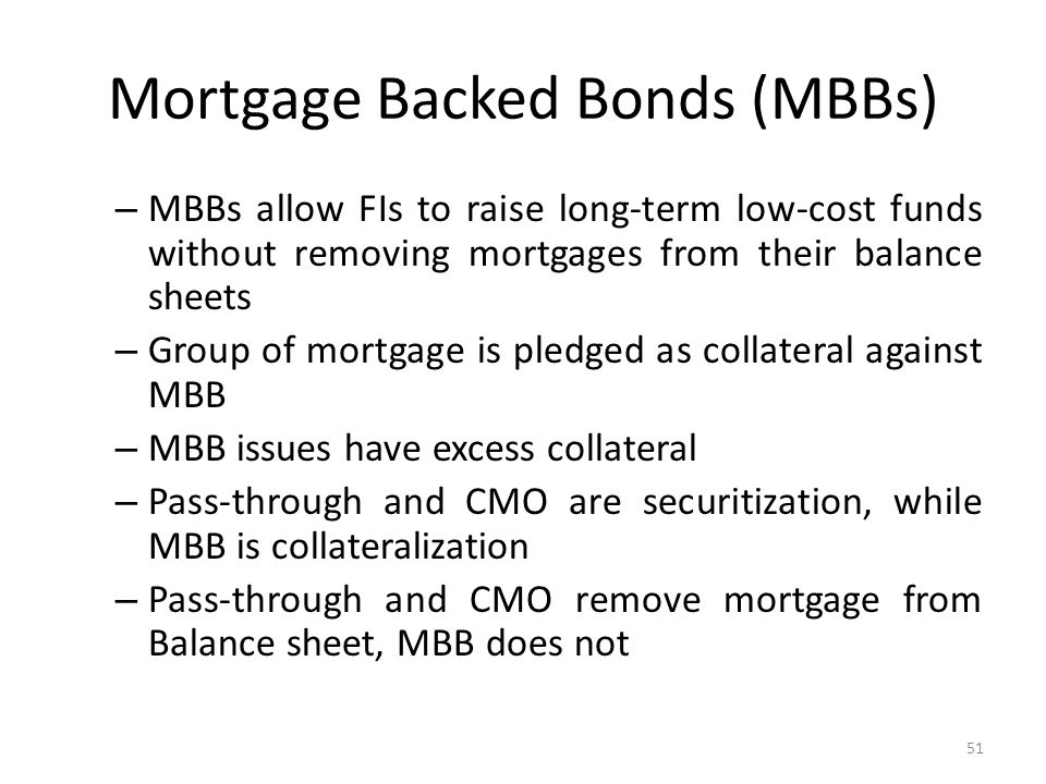 Mortgage Backed Bonds (MBBs) – MBBs allow FIs to raise long-term low-cost funds without removing mortgages from their balance sheets – Group of mortgage is pledged as collateral against MBB – MBB issues have excess collateral – Pass-through and CMO are securitization, while MBB is collateralization – Pass-through and CMO remove mortgage from Balance sheet, MBB does not 51