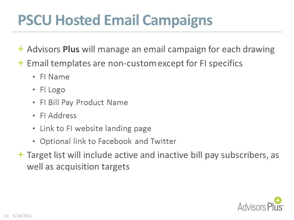(23) 6/20/2012 PSCU Hosted Email Campaigns + Advisors Plus will manage an email campaign for each drawing + Email templates are non-custom except for FI specifics FI Name FI Logo FI Bill Pay Product Name FI Address Link to FI website landing page Optional link to Facebook and Twitter + Target list will include active and inactive bill pay subscribers, as well as acquisition targets