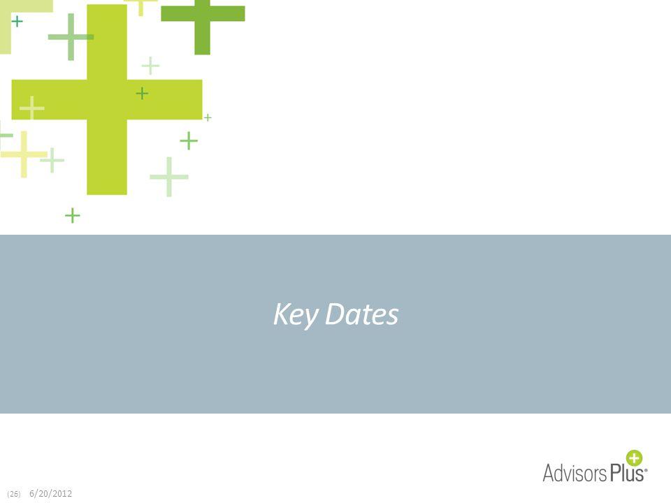 (26) 6/20/2012 Key Dates