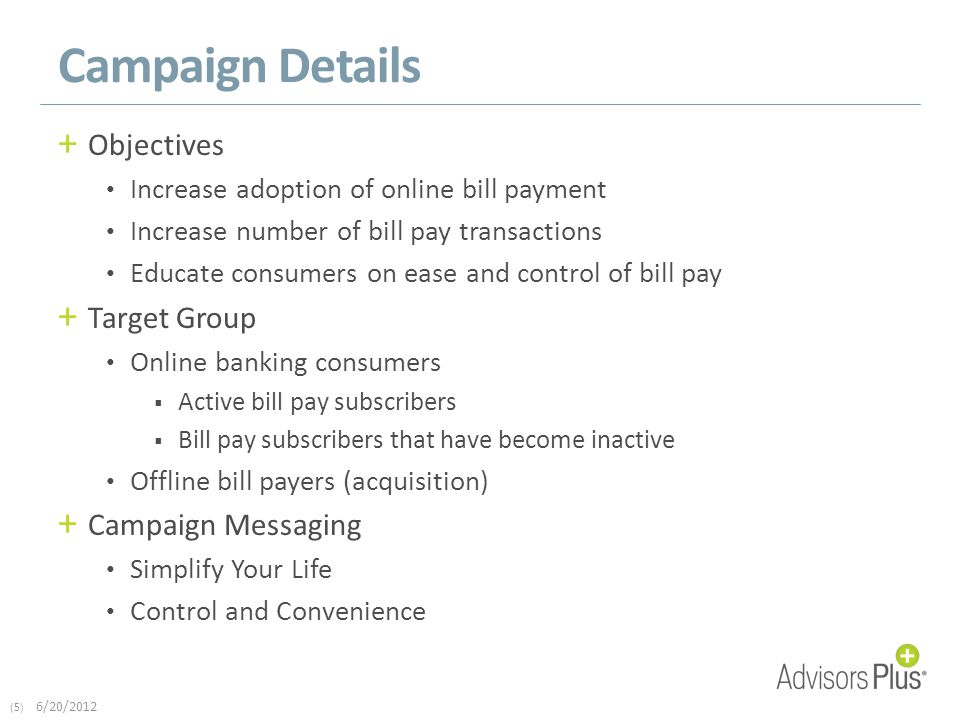 (5) 6/20/2012 Campaign Details + Objectives Increase adoption of online bill payment Increase number of bill pay transactions Educate consumers on ease and control of bill pay + Target Group Online banking consumers  Active bill pay subscribers  Bill pay subscribers that have become inactive Offline bill payers (acquisition) + Campaign Messaging Simplify Your Life Control and Convenience