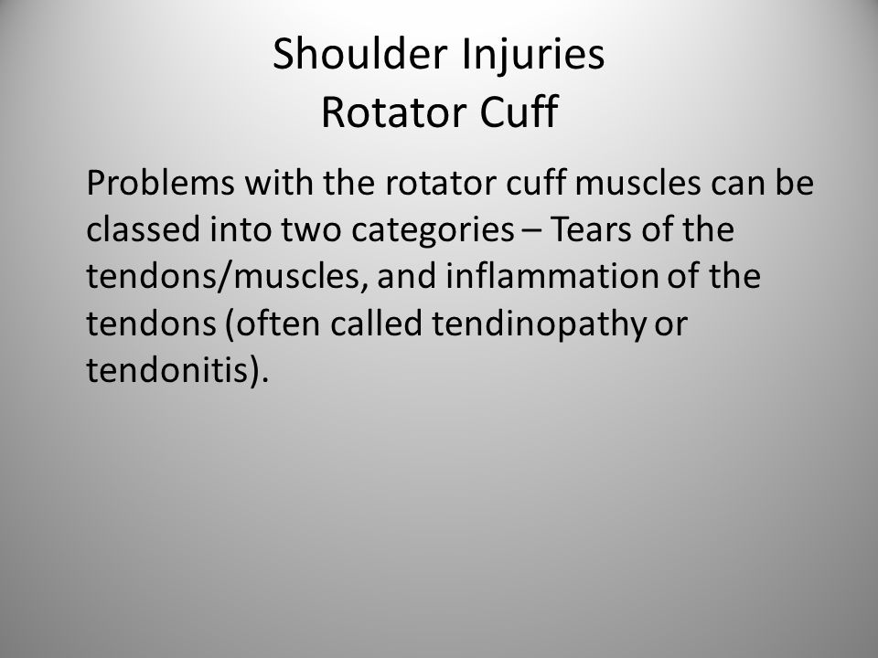Shoulder Injuries Rotator Cuff Problems with the rotator cuff muscles can be classed into two categories – Tears of the tendons/muscles, and inflammation of the tendons (often called tendinopathy or tendonitis).