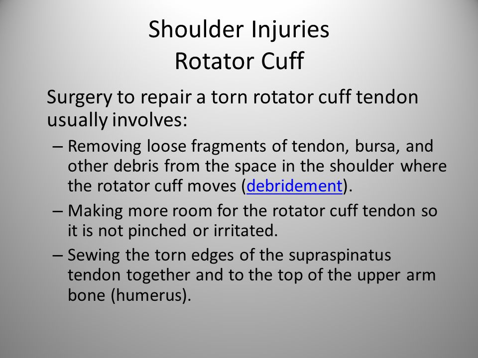 Shoulder Injuries Rotator Cuff Surgery to repair a torn rotator cuff tendon usually involves: – Removing loose fragments of tendon, bursa, and other debris from the space in the shoulder where the rotator cuff moves (debridement).debridement – Making more room for the rotator cuff tendon so it is not pinched or irritated.