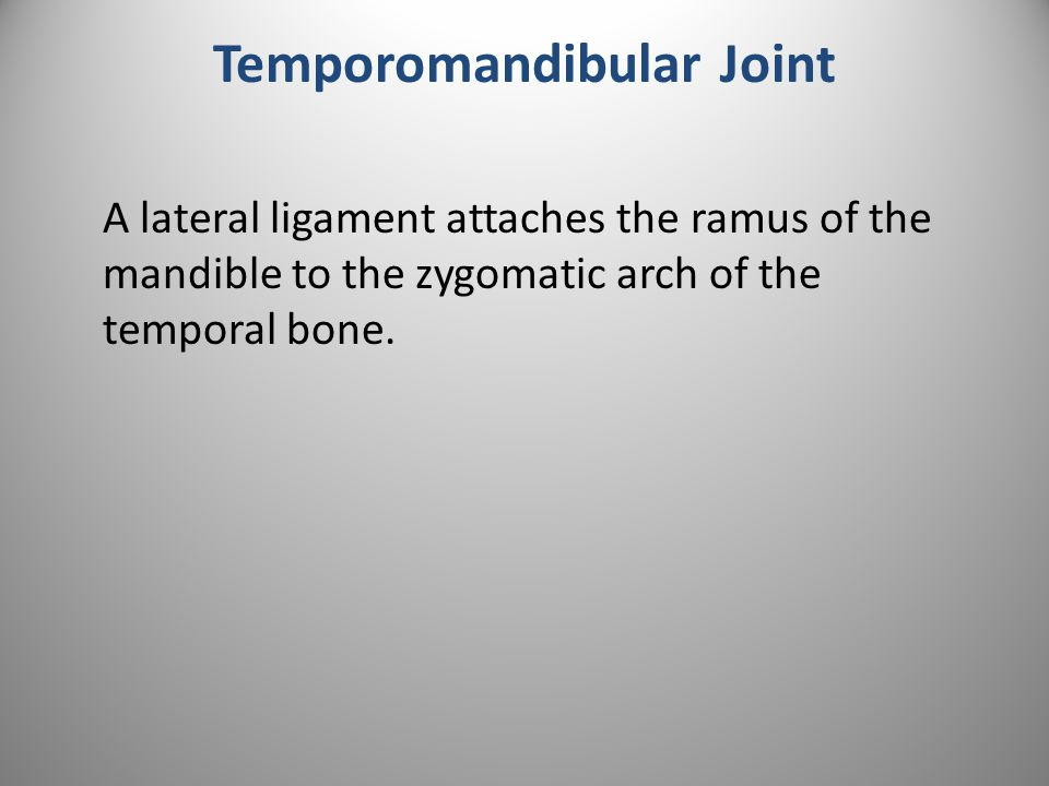 Temporomandibular Joint A lateral ligament attaches the ramus of the mandible to the zygomatic arch of the temporal bone.