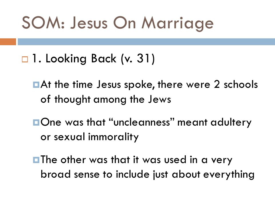 SOM: Jesus On Marriage  4.Collateral Damage (v.