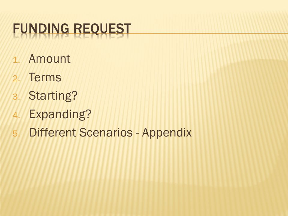 1. Amount 2. Terms 3. Starting 4. Expanding 5. Different Scenarios - Appendix