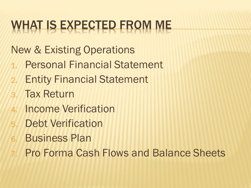 New & Existing Operations 1. Personal Financial Statement 2.