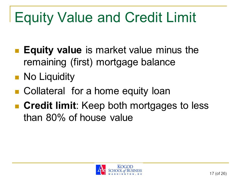 17 (of 26) Equity Value and Credit Limit Equity value is market value minus the remaining (first) mortgage balance No Liquidity Collateral for a home equity loan Credit limit: Keep both mortgages to less than 80% of house value