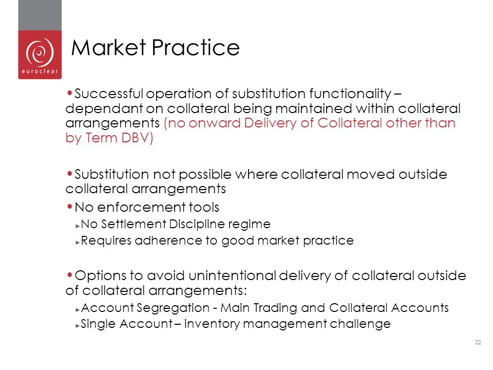 32 Successful operation of substitution functionality – dependant on collateral being maintained within collateral arrangements (no onward Delivery of Collateral other than by Term DBV) Substitution not possible where collateral moved outside collateral arrangements No enforcement tools ► No Settlement Discipline regime ► Requires adherence to good market practice Options to avoid unintentional delivery of collateral outside of collateral arrangements: ► Account Segregation - Main Trading and Collateral Accounts ► Single Account – inventory management challenge Market Practice