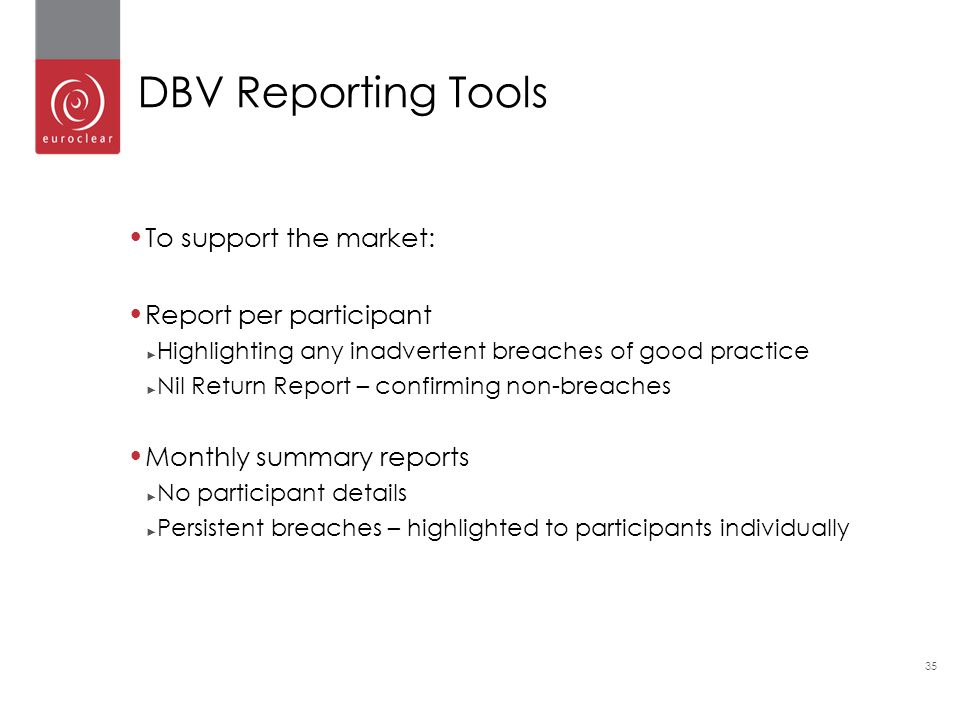 35 To support the market: Report per participant ► Highlighting any inadvertent breaches of good practice ► Nil Return Report – confirming non-breaches Monthly summary reports ► No participant details ► Persistent breaches – highlighted to participants individually DBV Reporting Tools