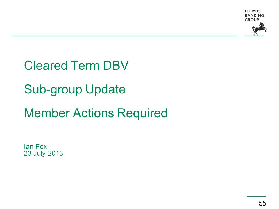 55 Cleared Term DBV Sub-group Update Member Actions Required Ian Fox 23 July 2013