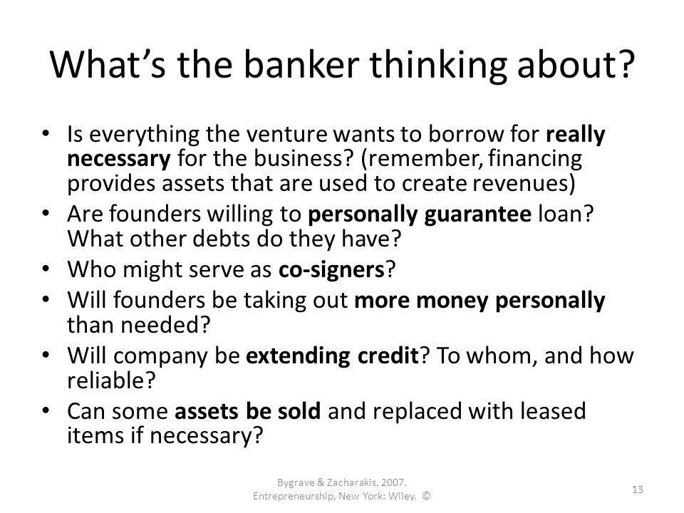 What's the banker thinking about.