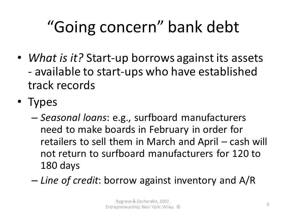 Going concern bank debt What is it.