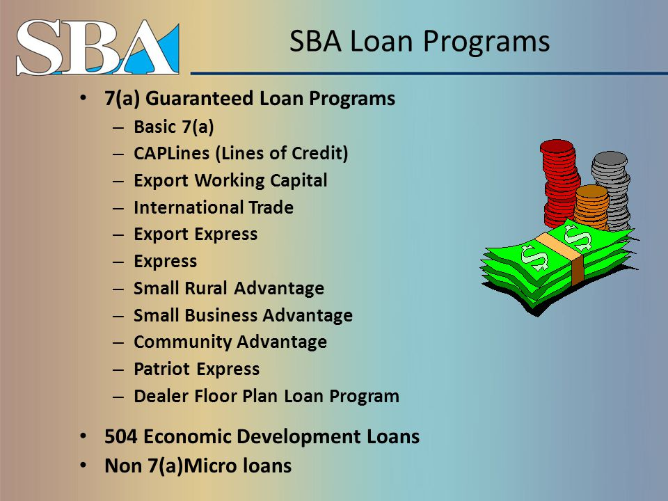 Other Types of Financial Assistance DISASTER LOANS – For Home, Business, Economic Injury (EIDL), and for Deploying Reservists (MREID) SURETY BONDS – Bid, performance, payment, and ancillary Small Business Investment Companies (SBIC) SBIR – Small Business Innovation Research Program STTR – Small Business Technology Transfer Program