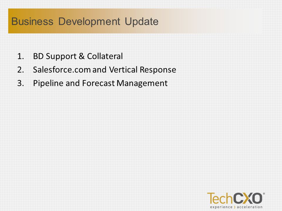1.BD Support & Collateral 2.Salesforce.com and Vertical Response 3.Pipeline and Forecast Management Business Development Update