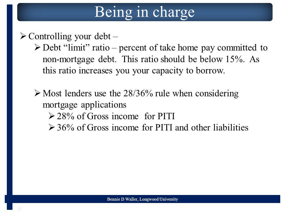 Bennie D Waller, Longwood University Being in charge  Controlling your debt –  Debt limit ratio – percent of take home pay committed to non-mortgage debt.