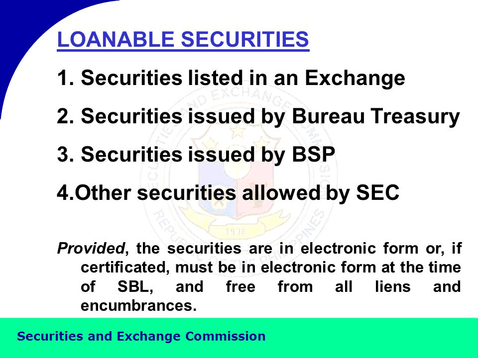 Securities and Exchange Commission PROVISIONS IN THE MASTER SECURITIES LENDING AGREEMENT 9.
