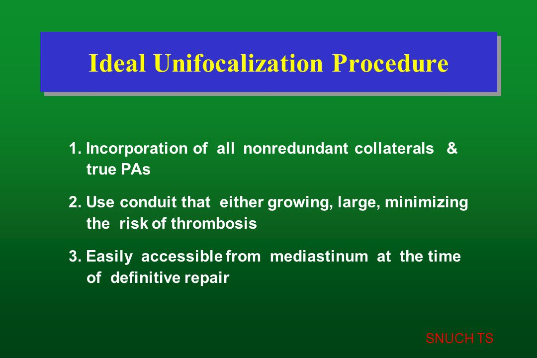 SNUCH TS Ideal Unifocalization Procedure 1. Incorporation of all nonredundant collaterals & true PAs 2. Use conduit that either growing, large, minimi