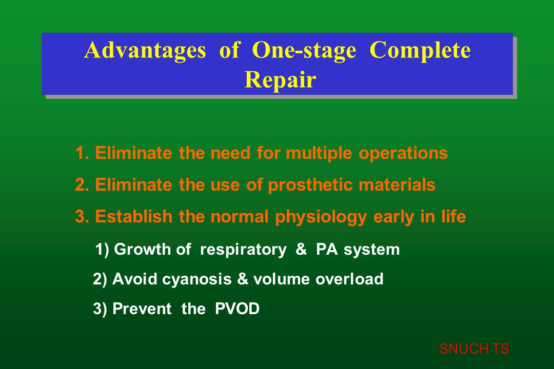 SNUCH TS Advantages of One-stage Complete Repair 1. Eliminate the need for multiple operations 2. Eliminate the use of prosthetic materials 3. Establi