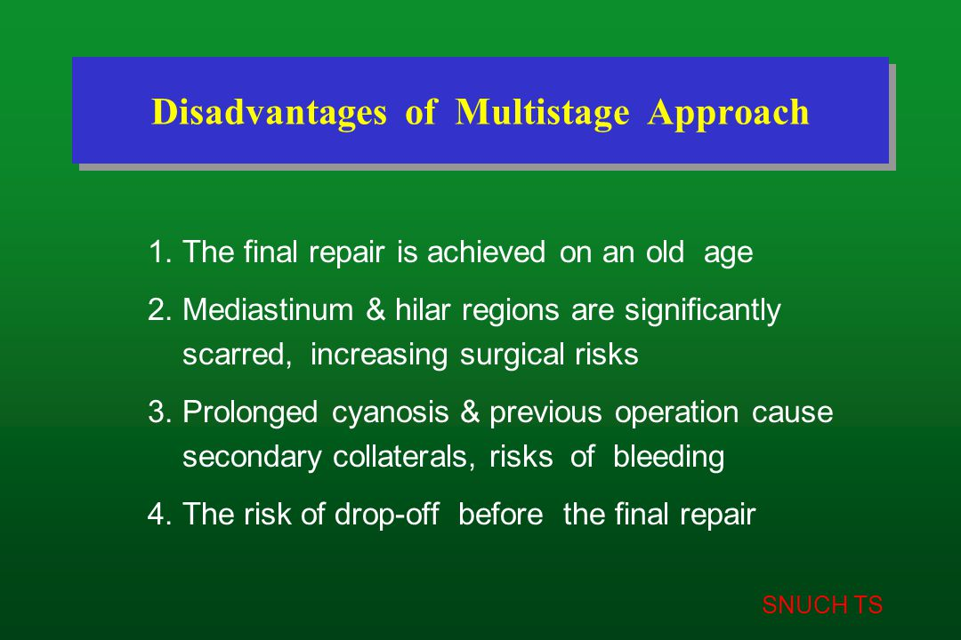 SNUCH TS Disadvantages of Multistage Approach 1. The final repair is achieved on an old age 2. Mediastinum & hilar regions are significantly scarred,