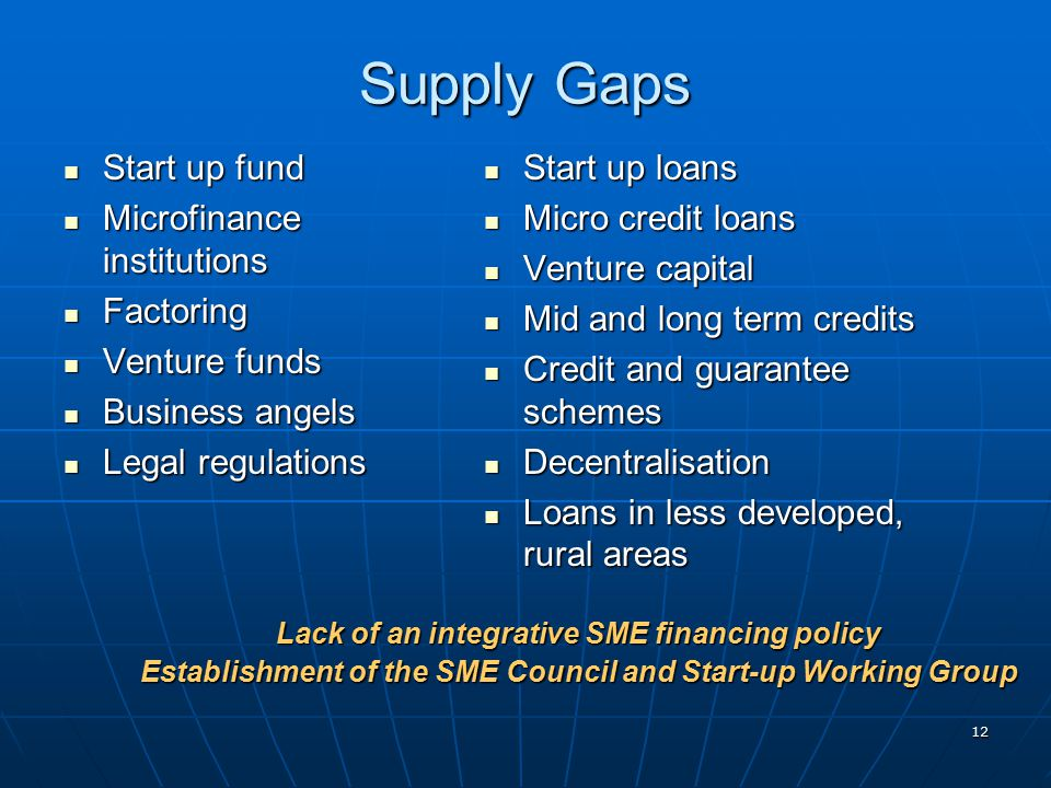 12 Supply Gaps Start up fund Start up fund Microfinance institutions Microfinance institutions Factoring Factoring Venture funds Venture funds Business angels Business angels Legal regulations Legal regulations Start up loans Start up loans Micro credit loans Micro credit loans Venture capital Venture capital Mid and long term credits Mid and long term credits Credit and guarantee schemes Credit and guarantee schemes Decentralisation Decentralisation Loans in less developed, rural areas Loans in less developed, rural areas Lack of an integrative SME financing policy Establishment of the SME Council and Start-up Working Group