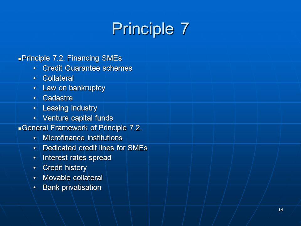 14 Principle 7 Principle 7.2. Financing SMEs Principle 7.2. Financing SMEs Credit Guarantee schemesCredit Guarantee schemes CollateralCollateral Law o