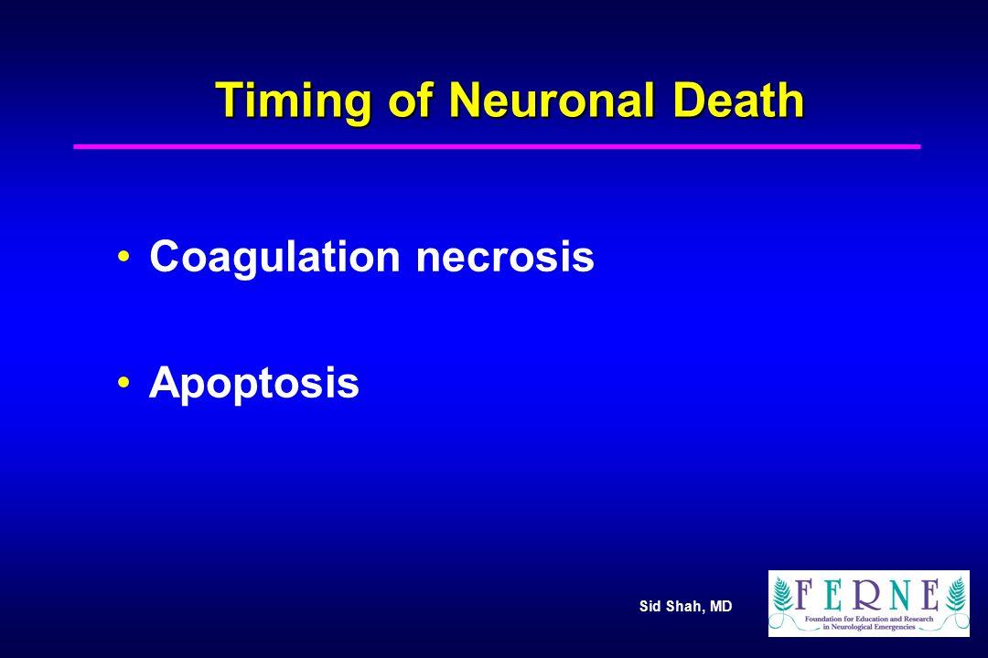 Sid Shah, MD Timing of Neuronal Death Coagulation necrosis Apoptosis