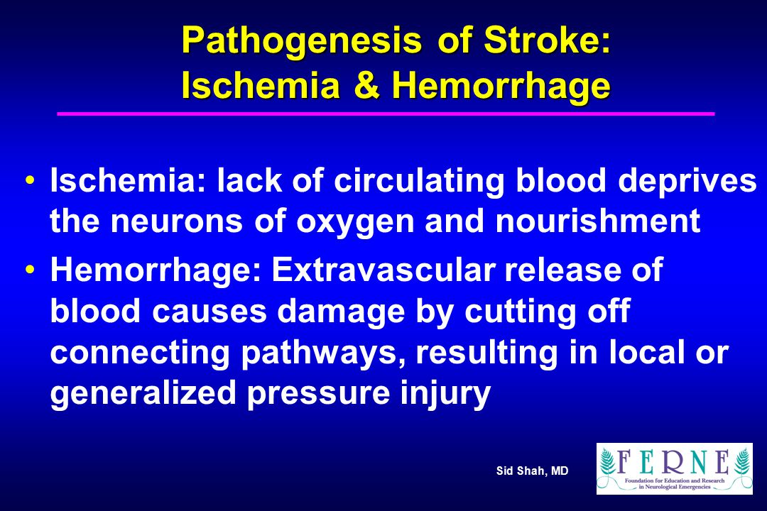 Sid Shah, MD Acute Ischemic Injury The occlusion of a large vessel (such as MCA) is rarely complete and cerebral blood flow (CBF) depends on the degree of obstruction, and collateral circulation Many factors influence progression and extent of ischemic injury