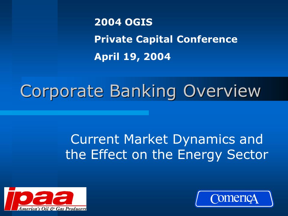 Corporate Banking Overview Current Market Dynamics and the Effect on the Energy Sector 2004 OGIS Private Capital Conference April 19, 2004
