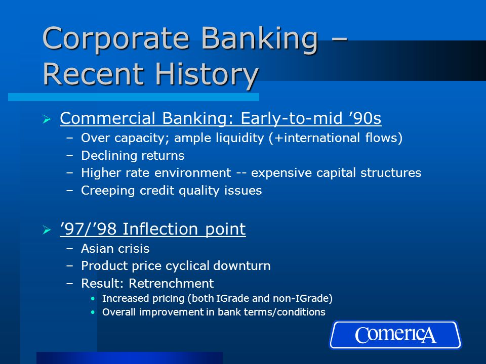 Corporate Banking – Recent History  Commercial Banking: Early-to-mid '90s –Over capacity; ample liquidity (+international flows) –Declining returns –Higher rate environment -- expensive capital structures –Creeping credit quality issues  '97/'98 Inflection point –Asian crisis –Product price cyclical downturn –Result: Retrenchment Increased pricing (both IGrade and non-IGrade) Overall improvement in bank terms/conditions
