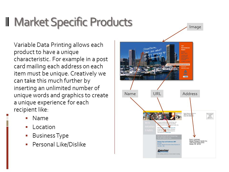 Market Specific Products Variable Data Printing allows each product to have a unique characteristic.