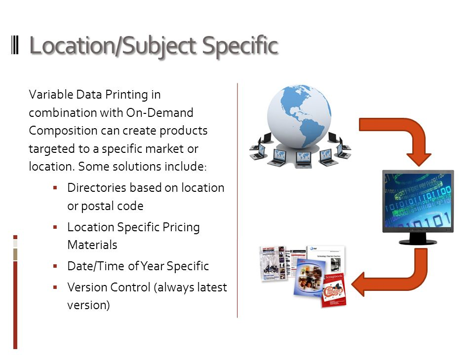 Location/Subject Specific Variable Data Printing in combination with On-Demand Composition can create products targeted to a specific market or location.