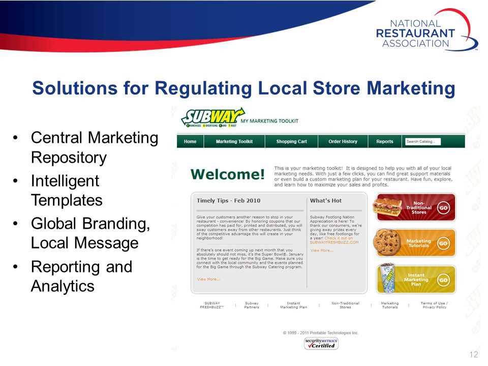 12 Solutions for Regulating Local Store Marketing Central Marketing Repository Intelligent Templates Global Branding, Local Message Reporting and Analytics