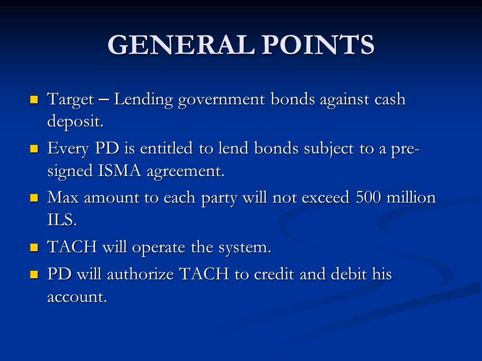 GENERAL POINTS Target – Lending government bonds against cash deposit. Target – Lending government bonds against cash deposit. Every PD is entitled to