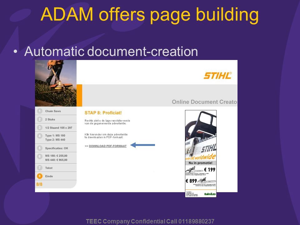 TEEC Company Confidential Call 01189880237 ADAM offers page building Automatic document-creation