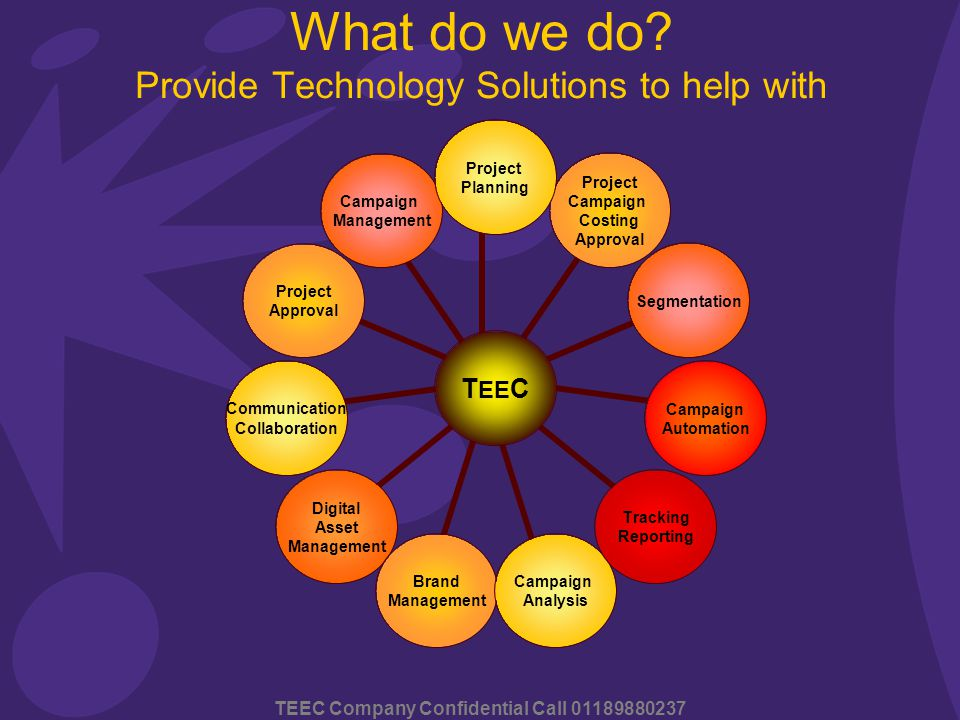 TEEC Company Confidential Call 01189880237 TEEC Project Planning Project Campaign Costing Approval Segmentation Campaign Automation Tracking Reporting Campaign Analysis Brand Management Digital Asset Management Communication Collaboration Project Approval Campaign Management What do we do.