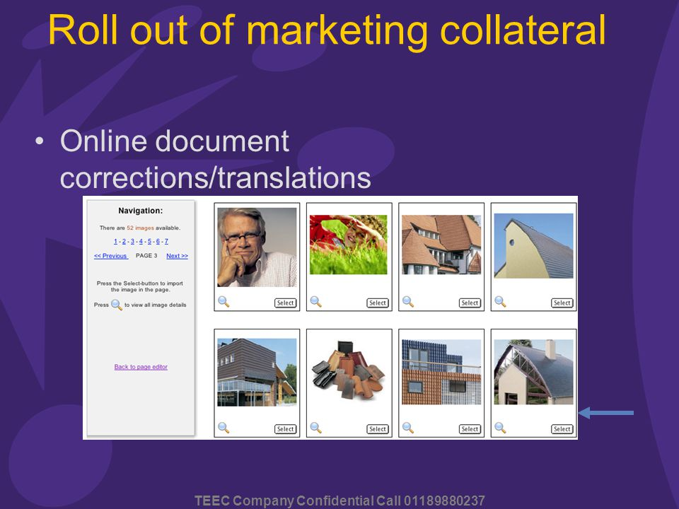 TEEC Company Confidential Call 01189880237 Roll out of marketing collateral Online document corrections/translations