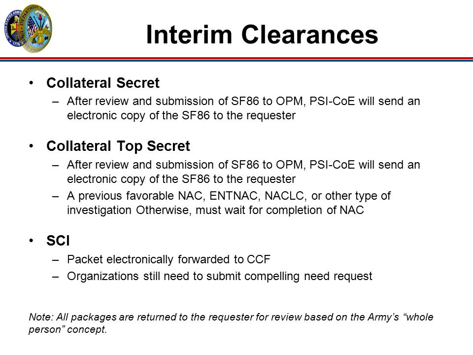 Interim Clearances Collateral Secret –After review and submission of SF86 to OPM, PSI-CoE will send an electronic copy of the SF86 to the requester Co