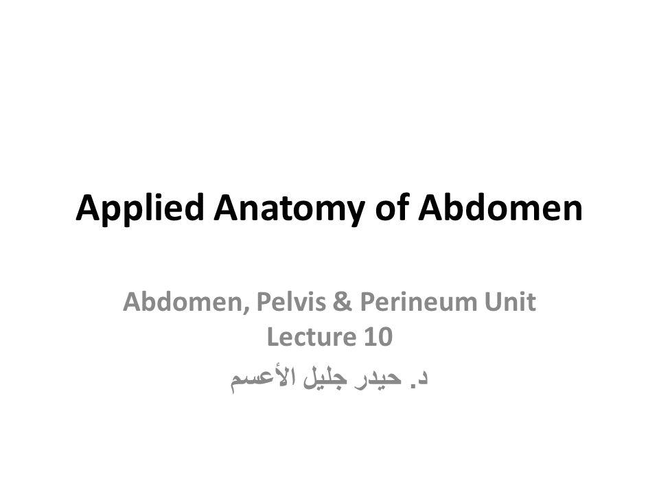 Applied Anatomy of Abdomen Abdomen, Pelvis & Perineum Unit Lecture 10 د. حيدر جليل الأعسم
