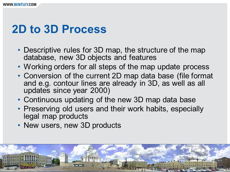 2D to 3D Process Descriptive rules for 3D map, the structure of the map database, new 3D objects and features Working orders for all steps of the map