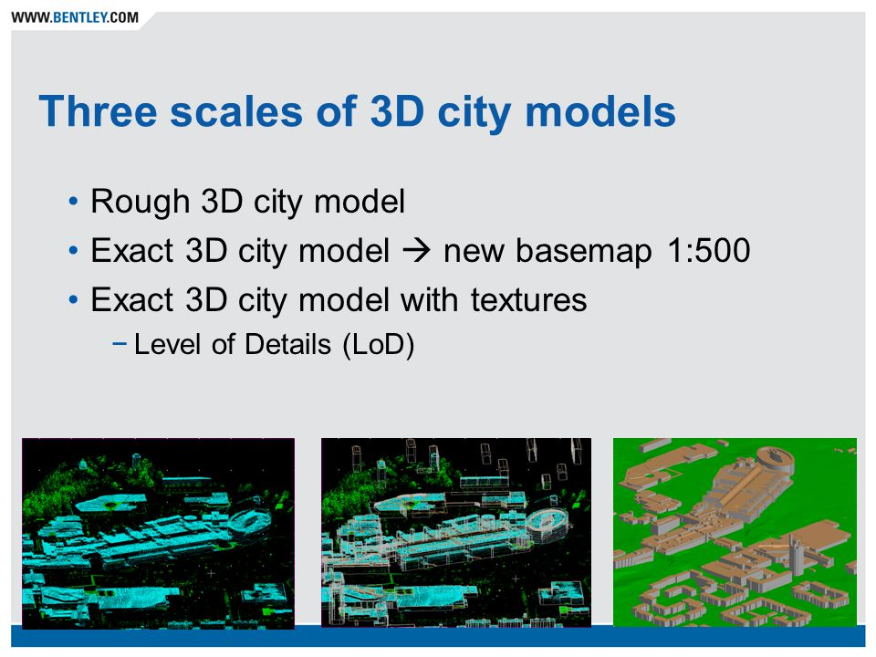 Three scales of 3D city models Rough 3D city model Exact 3D city model  new basemap 1:500 Exact 3D city model with textures −Level of Details (LoD)